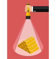 Hand holding flashlight glow to the gold ingots vector image