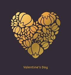 Happy Valentines Day Greeting Card Golden Floral vector image vector image