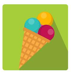 ice cream cone icon flat style with long shadows vector image