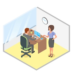 isometric of modern business office vector image vector image