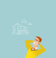 Man dreaming about buying a new house vector