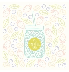 Mason jar with smoothie bar logotype on fruits and vector