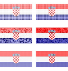Mosaic croatia flag set vector