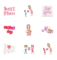 Mothers day icons set cartoon style vector image vector image