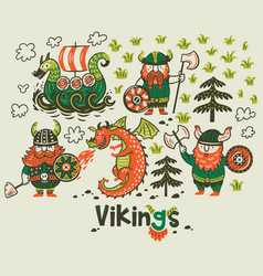 nordic collection with vikings dragon and ship in vector image vector image