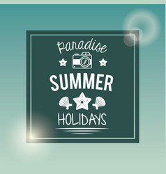 Poster with square frame of logo text paradise vector