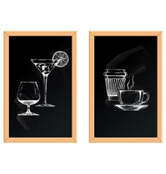 Set of alcoholic and soft drinks vector