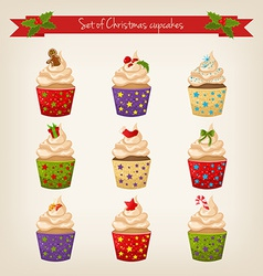 set of cute hipster Christmas cupcakes vector image vector image