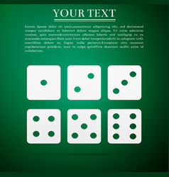 Set of six dices flat icon on green background vector
