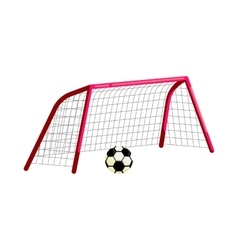 Soccer goal and ball icon cartoon style vector