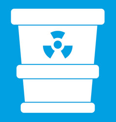 Trashcan containing radioactive waste icon white vector