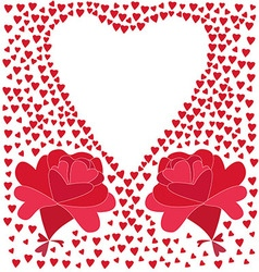 Two flowers consisting of red hearts and the vector image vector image