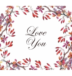 Wedding or birthday card Floral frame Watercolor vector image vector image
