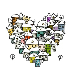 Winter city of love heart shape sketch for your vector image vector image