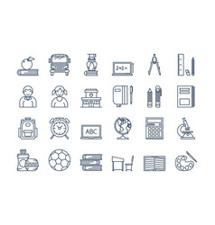 05 outline school education icons set vector image