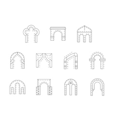 Set of stone archway flat line icons vector