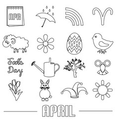 April month theme set of simple outline icons vector