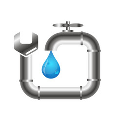 Faucet and plumbing wrench vector