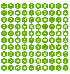 100 beauty product icons hexagon green vector