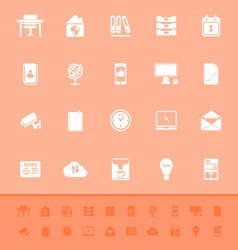 Home office color icons on orange background vector