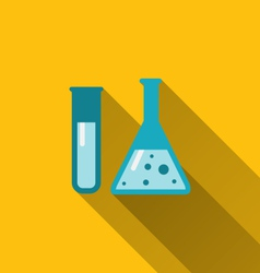 Icons of chemical test tubes with shadows modern vector