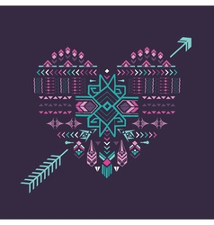 Tribal heart - vintage aztec background vector