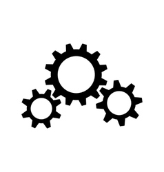 Three black gear wheels vector