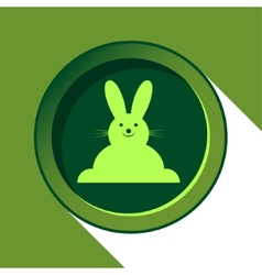 Button with light green easter bunny and shadow vector