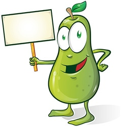Pear cartoon with signboard vector