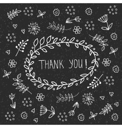 Hand drawn thank you vintage floral elements badge vector