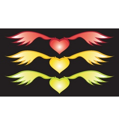 Wings and hearts vector