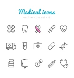 Medical outline icons vector