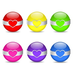 glossy heart spheres vector image