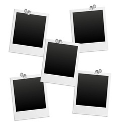 Blank photo frames with pushpin vector