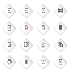 Smarthone specs simply icons vector