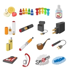 Electronic cigarettes icons cartoon vector