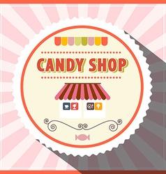 Candy Shop Retro Pink Label vector image