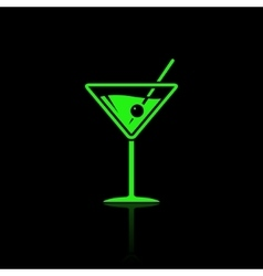 Cocktail neon style icon vector image