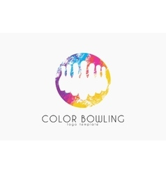 Bowling game logo color bowling sport logo vector