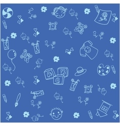 Blue equipment school doodle vector image