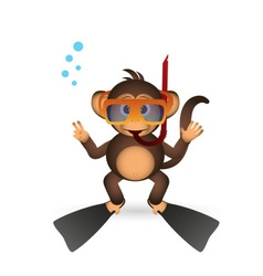 Cute chimpanzee diver in summer sport little vector