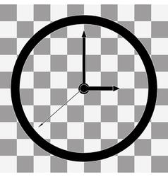 Black Clock Icon on transparent vector image