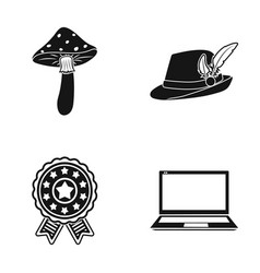 Amanita hat with feather and other web icon in vector