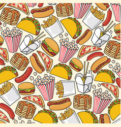 background pattern with fast food icons vector image vector image