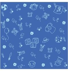 Blue equipment school doodle vector image