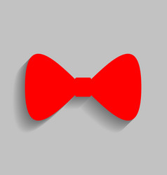 Bow tie icon red icon with soft shadow on vector