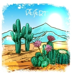 Cactus in desert sketch vector