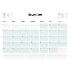 calendar planner template for 2018 year november vector image vector image