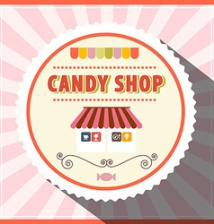Candy Shop Retro Pink Label vector image