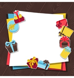 Celebration background or card with sticker gift vector image vector image